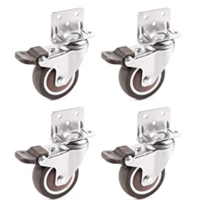 Skelang 4 Pcs 2 Inches Swivel Plate Casters with Brake, TPE Caster, L- Shaped Mute Wheels Replacement for Baby Bed, Carts Trolley, Kitchen Cabinet, Furniture, Table, Loading Capacity 240 Lbs
