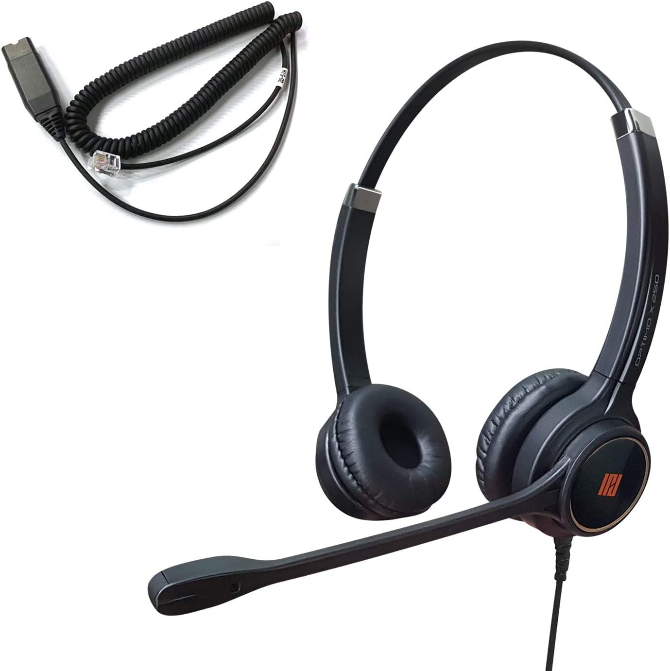 IPD IPH-255 Optimo-X Duo Ear Noise canceling, Corded Headset with HIS-02 Cable for Avaya IP1608,1616,9608G, 9611G,9610, 9620, 9620L, 9620C, 9630, 9630G, 9640, 9640G, 9650, 9670 IP Phones