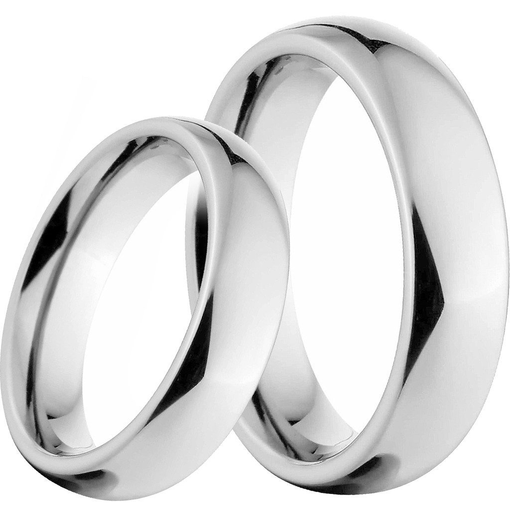 His & Hers Matching Titanium Couple Wedding Band Rings Set in a Gift Box
