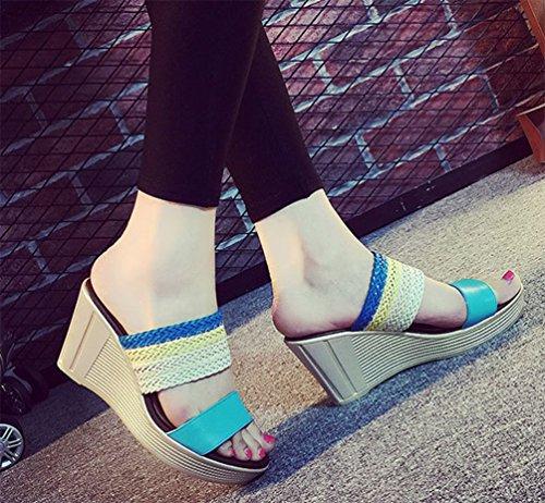 Aisun Damen Neu Geflochten Toe Open Plateau Keilabsatz Pantoffeln Blau