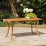 Great Deal Furniture Hestia Teak Finish Acacia Wood Rectangular Dining Table