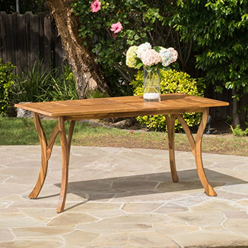 Hestia Teak Finish Acacia Wood Rectangular Dining Table (Teak Rectangular Dining Table)