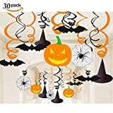 30 Pieces Halloween Party Hanging Swirl Decoration Scary Theme Ceiling Swirl Hanging Decorations Pumpkin/ Witches Hat / Bats/ Spider
