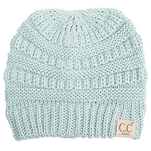 Motobear Exclusives Kids Beanie Hats Baby Toddler Ribbed Knit Children Winter Hat Beanie Cap 2-7 years-15 Colors Classic (Mint)