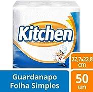 GUARDANAPO FOLHA SIMPLES KITCHEN COM 50 UNIDS DE 22, 7 X 22, 8 CM CADA, Kitchen, Branco, 22, 7 cm x 22, 8 cm cada, pacote de