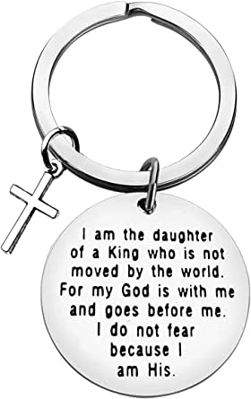 Christian Keychain Gifts for Women Religious Gift I Am The Daughter of A King Who is Not Moved by The World Religious Keychain Inspirational Christian Jewelry for Women Baptism Gift for Girls