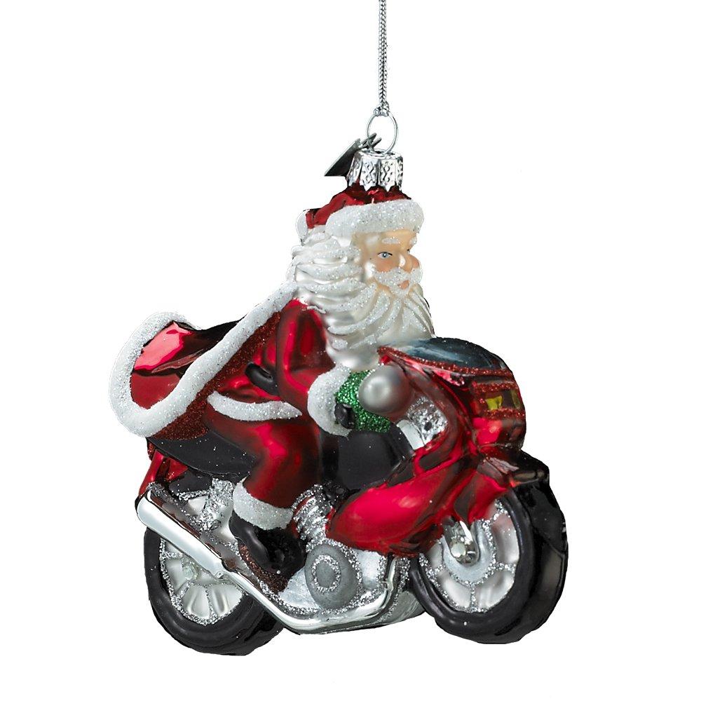 amazoncom noble gems kurt adler glass santa on motorcycle ornament 4 inch home kitchen