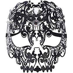 Coxeer Skull Masquerade Mask Halloween Metal Mask with Rhinestones