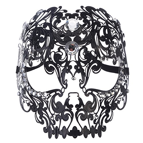 [Sexy Skull Face Masquerade Masks Mardi Gras Costumes with Rhinestones] (Adult Womens Mardi Gras Queen Costumes)