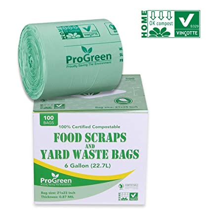 GreenPro ProGreen - Bolsas de basura 100% compostables de 6 ...