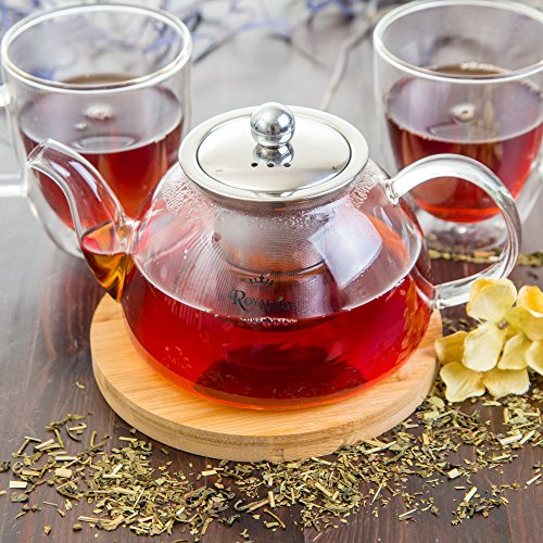 Glass Teapot with Infuser for Stove Top or Microwave | This Stainless Steel Strainer is Designed for Bag or Loose Leaf Tea | Free Bamboo Trivet Included for Limited Time - Large 40 oz. Pot - RoyalTea