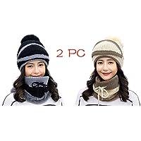 2 PC Adult Women Men Hat Beanie Winter Earmuffs Knit Mask Scarf Hairball Warm Cap