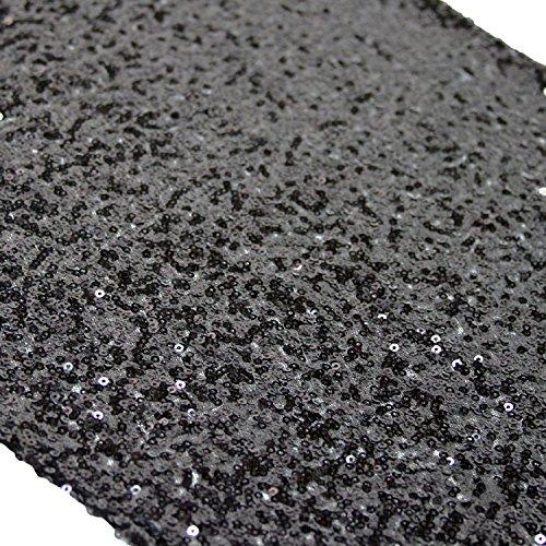 TRLYC 12 x 120 Inch Black Sequin Table Runner,Sequin Tablerunner Black
