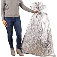 """Hallmark 56"""" Large Plastic Gift Bag (Silver Damask) for Engagement Parties, Bridal Showers, Weddings, Holidays or Any Occasion"""