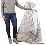 """Hallmark 56"""" Large Plastic Gift Bag (Silver Damask) for Engagement Parties, Bridal Showers, Weddings, Holidays or Any Occasion: more info"""