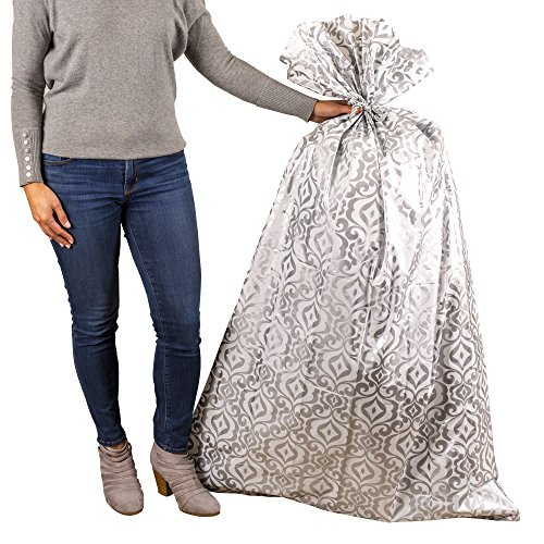 Hallmark Large Plastic Gift Bag for Engagement Parties, Bridal Showers, Weddings, Housewarmings or Any Occasion (Silver Damask)