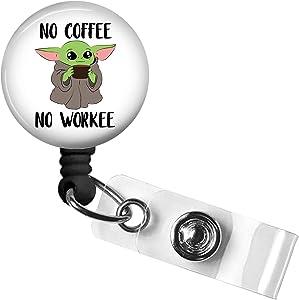 No Coffee no Workee Retractable Badge Reel,Nurse ID Badge Holder with Alligator Clip,24 inch Nylon Cord,Decorative Name Badge Holder