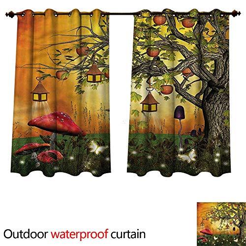cobeDecor Fantasy Home Patio Outdoor Curtain Wonderland with Woodland W120 x L72(305cm x 183cm) (Wonderland Scroll)