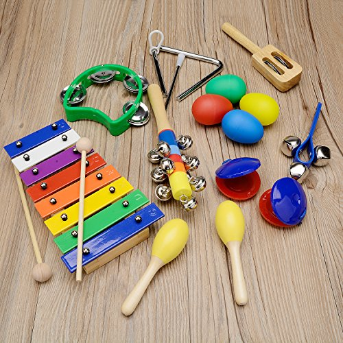 Gogodirect Kids Musical Instruments Xylophone Set 17pcs, Wooden Percussion Instruments Toy for Toddlers Preschool Educational, Musical Toys Set for Kids Children with Carrying Bag