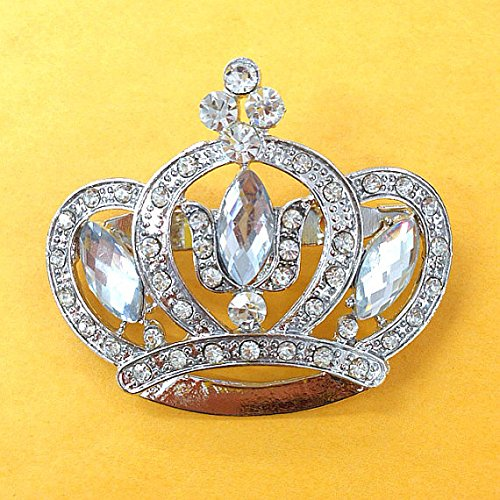 Set of 12 Large Rhinestone Crown Brooch 47mm X 55mm Use for Wedding Bouquet . Bridal Sash , Embellishment , Wedding Favor, Dress Appliqué -