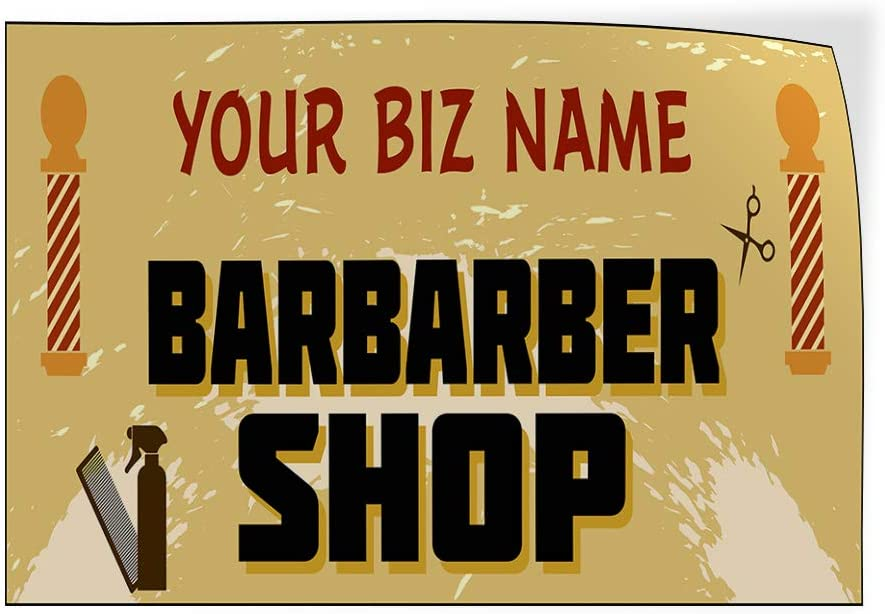 Custom Door Decals Vinyl Stickers Multiple Sizes Business Name Barber Shop Business Barber Shop Signs Outdoor Luggage /& Bumper Stickers for Cars Yellow 64X42Inches Set of 2