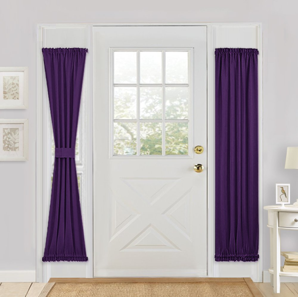 PONY DANCE French Door Curtain Panel for Privacy Thermal Insulated Rod Pocket Blackout Curtain Panel for Sliding Door with Bonus Tieback,25 x72 inches,Purple,1 Piece
