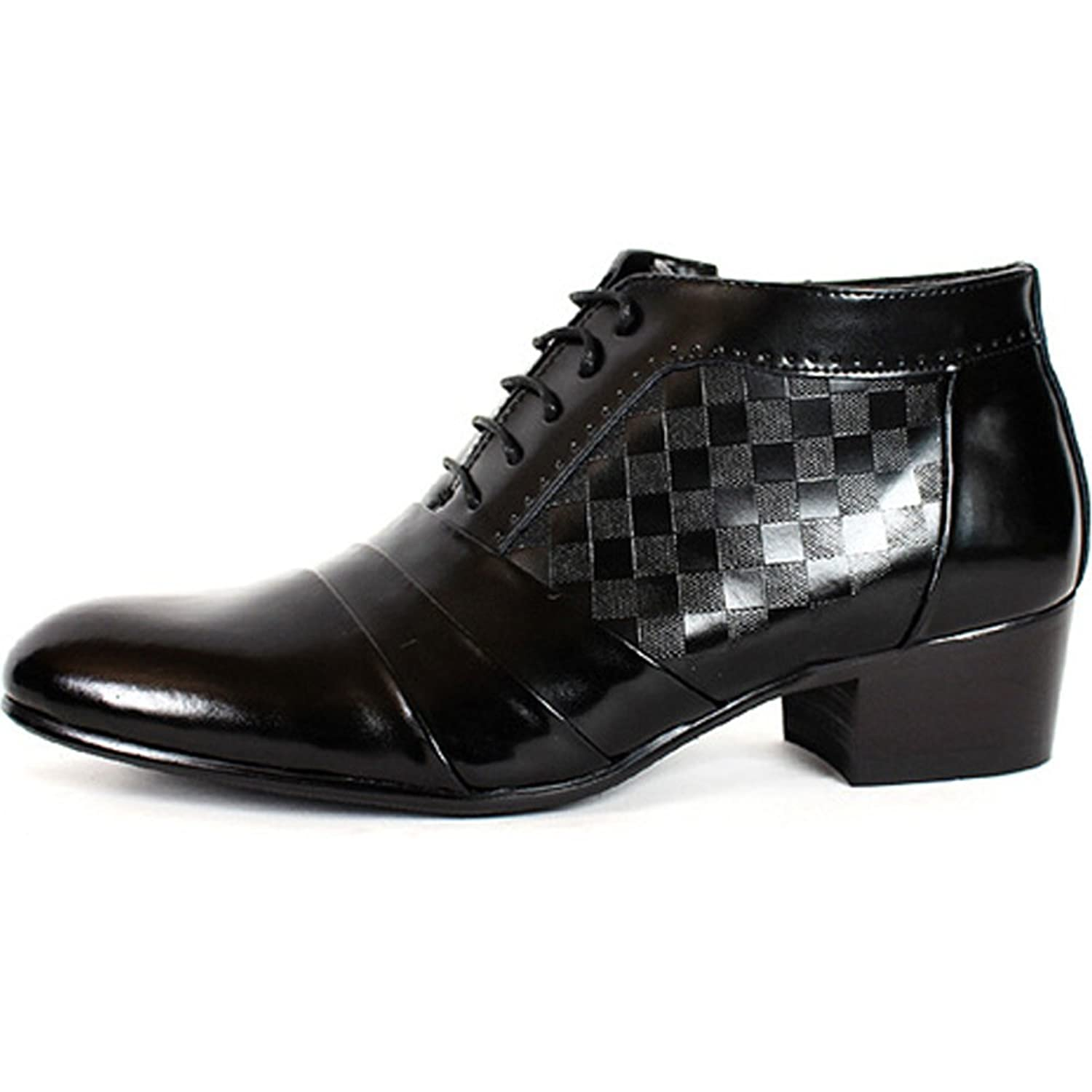 EpicStep Mens Simple Dress Formal Business Genuine Leather Lace Up Tall Up Elevator Oxfords Shoes  VDNF2RSPR
