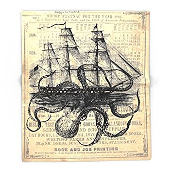 "Society6 Octopus Kraken Attacking Ship Antique Almanac Paper 68"" x 80"" Blanket"