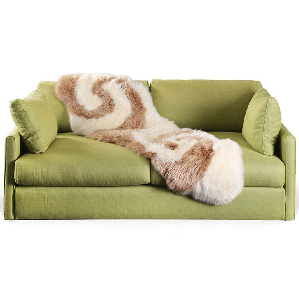 Furniture Accessories Sofa Cushion mat Cushion Wool Sofa Cushion Three-Piece European Living Room Light Luxury Combination Lambskin Long Hair Cushion (Color : White, Size : 55180cm)