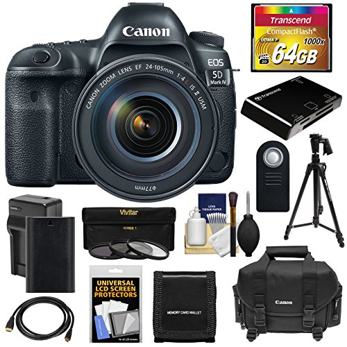 Canon EOS 5D Mark IV 4K Wi-Fi Digital SLR Camera & EF 24-105mm f/4L IS II USM Lens with 64GB Card + Battery & Charger + Case + 3 Filters + Tripod Kit