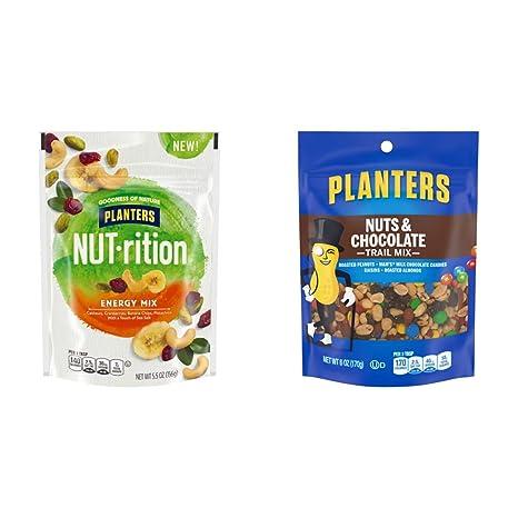 NUT-rition Energy Mix (5.5 oz Pouch) & Planters Nuts & Chocolate M&M's Trail Mix (6 oz Pouch)