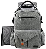 HapTim Multi-function Large Baby Diaper Bag Backpack W/Stroller Straps-Insulated Pockets-Changing Pad, Stylish & Durable with Anti-Water Material(Gray-5284) Image