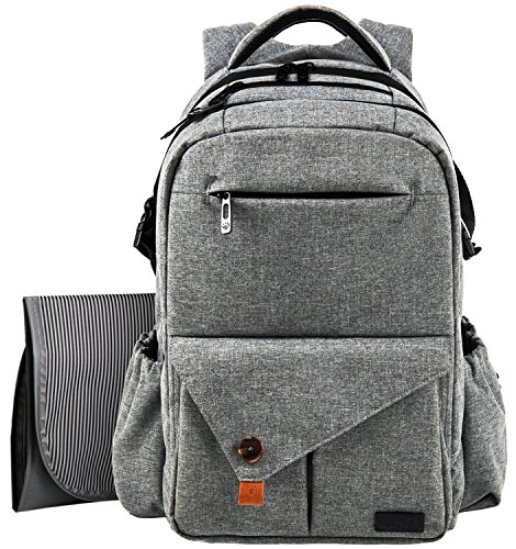 - HapTim Multi-Function Large Baby Diaper Bag Backpack W/Stroller Straps-Insulated Pockets-Changing Pad, Stylish & Durable with Anti-Water Material(Gray-5284)