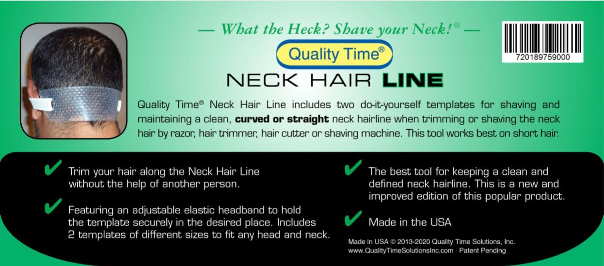 Quality Time  Neck Hair Line - 2 Templates for Shaving and Keeping a Clean and Curved or Straight Neck Hairline: Stencils for Neckline Haircut, Do-it-yourself