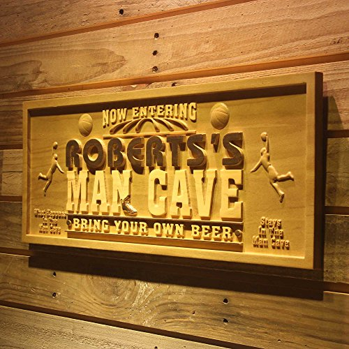 ADVPRO wpa0109 Name Personalized Basketball Man Cave Beer Bar Wood Engraved Wooden Sign - Medium 18.25