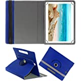 Fastway Rotating Leather Flip Case for I KALL N10 Dual Sim 4G Calling Tablet with 10.1 inch Display Tablet Cover Stand Blue