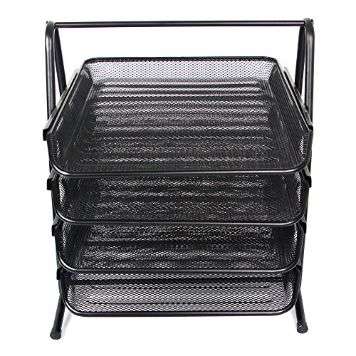 Amazon.com : Stackable Letter Tray Desktop Organizer Metal Mesh Office Tray Desk File Organizer, 4-Tiers Shelf, Black by Sun Cling : Office Products