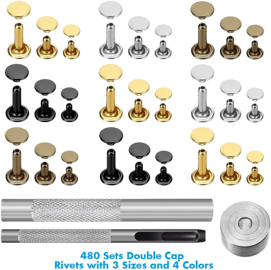Ehope 480 Sets 4 Colors 3 Sizes Leather Rivets Double Cap Rivet Tubular Metal Studs with 3 Pieces Setting Tool Kit for Leather Craft Repairs Decoration