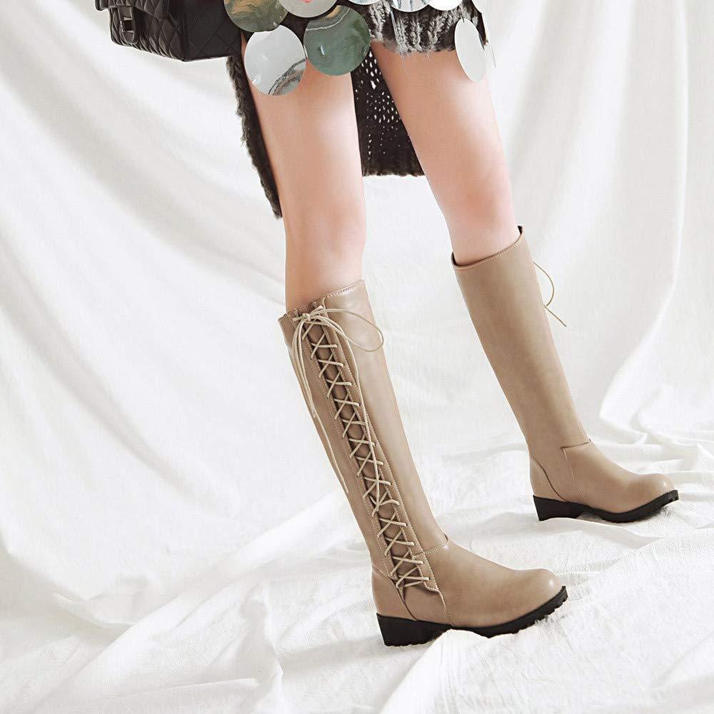 Oudan Stiefel Damen Schuhe Frauen Damenstiefel Freizeit Frauen Schuhe Schuh Lace-Up Bow Das Knie Rutschfeste Runde Kappe Lange Tube Martin Stiefel Winterstiefel Turnschuhe Stiefel (Farbe   Beige Größe   41 EU) 50eac4