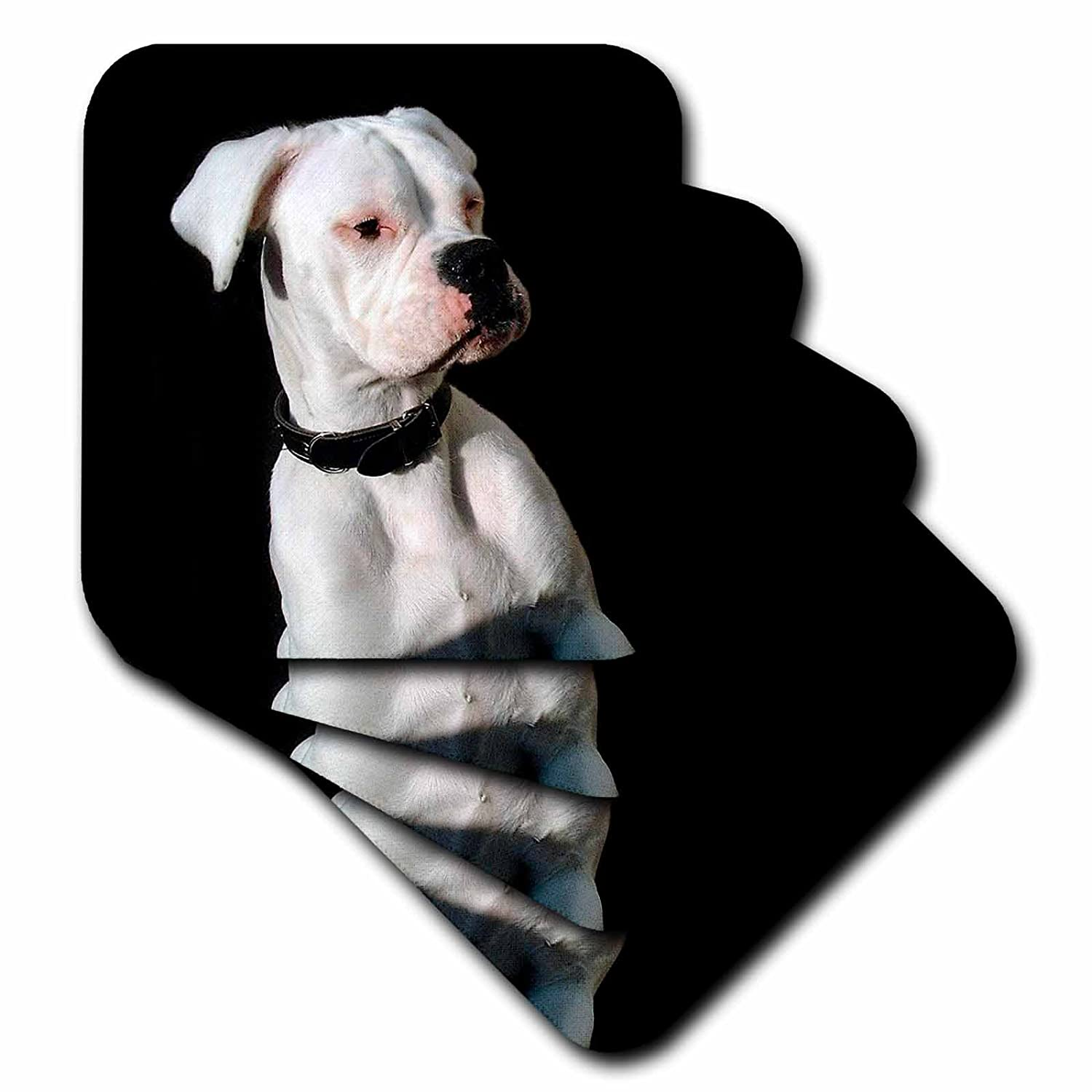 3dRose cst/_1113/_2 White Boxer Uncropped Ears Soft Coasters Set of 8