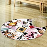 Girly Decor Circle carpet by Nalahomeqq Cosmetic and Make Up Theme Pattern with Perfume and Lipstick Nail Polish Brush Modern City Lady Room Accessories Extralong Multi-Diameter 120cm(47'')