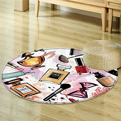 Girly Decor Circle carpet by Nalahomeqq Cosmetic and Make Up Theme Pattern with Perfume and Lipstick Nail Polish Brush Modern City Lady Room Accessories Extralong Multi-Diameter 120cm(47'') by Nalahomeqq