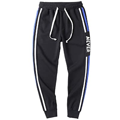 Joe Wenko Mens All-Match Elastic Waist Jogging Drawstring Trousers Pure Color Pants