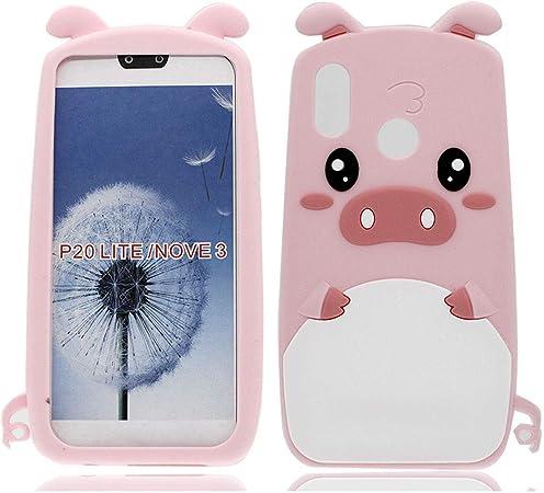 MoEvn Cover Huawei P20 Lite Custodia P20 Lite 3D Carino Fumetto Maiale Morbida TPU Silicone Ultra Sottile Flessibile Gomma Gel Antiurto Protezione ...