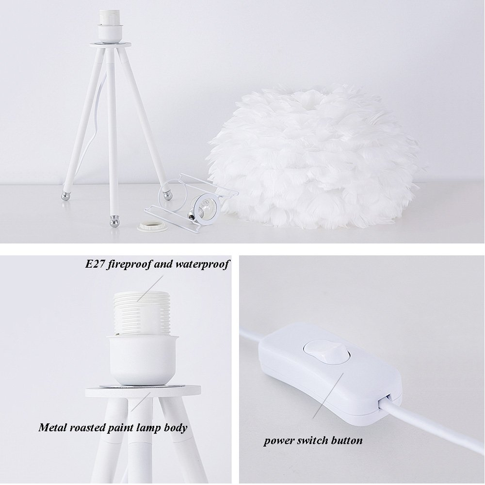 Feather table lamp Decorative table lamp Metal Goose feathers Personality creative Modern simplicity E27 Living room Bedroom Restaurant Bedside lamp (Color: white) by Lizichun (Image #6)