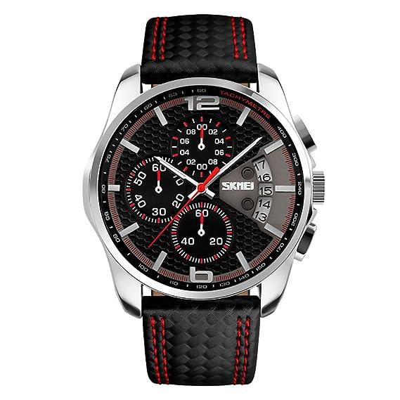 Amazon.com: SKMEI Mens Analog Watches 50M Waterproof Leather Strap Dress Watch Casual Wrist Watch: Watches
