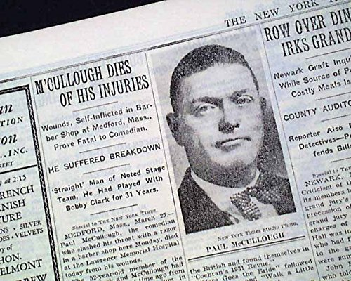 PAUL McCULLOUGH & Clark Comedy Team Comedian Actor SUICIDE Death 1936 Newspaper THE NEW YORK TIMES, March 26, 1936