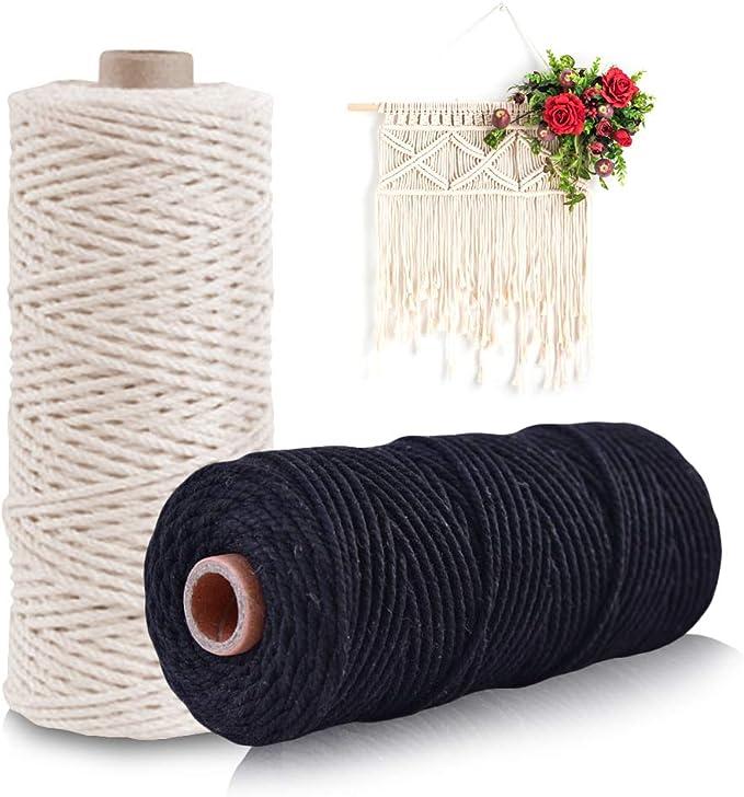 Gwolf Cordón de algodón macramé, cuerda de macramé para tejido de punto, hilo de macramé, hilo de algodón para confección, cuerda de hilo de algodón para tapices, perchas para plantas, (beige, negro):
