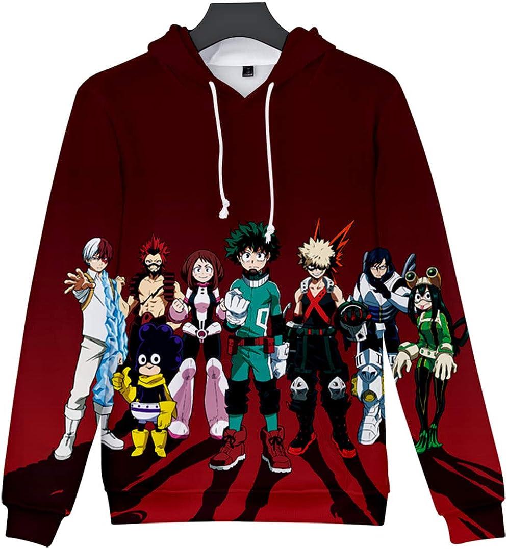 JOAYIN My Hero College Felpe con Cappuccio Modello di Stampa 3D Unisex Anime Cosplay katsukiAnime Personaggio One for all Manica Lunga Abbigliamento Sportivo con Tasca
