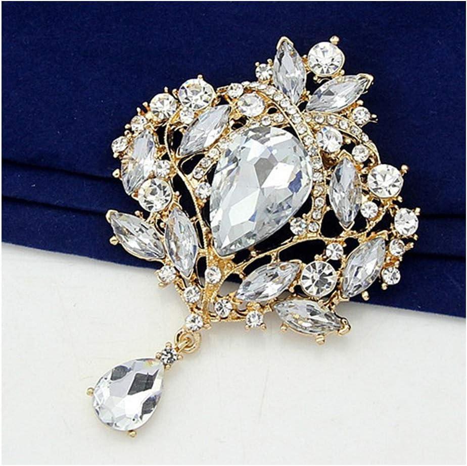 KOOBOOK 2Pcs Gorgeous Flower Floral Tear Large Drop Brooch Pin Crystal Glass Teardrop Brooch for Womens Gift 7x10cm